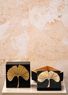 Misure 9 x 9 Scatola pietra ginko biloba Pietra e ottone