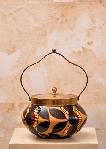 Misure Ø 20 x h 12 Potiche Insubria ceramica artigianale e ottone