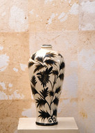 Misure h4 7 x 31 Vaso foglie immagine orientale  Ceramica