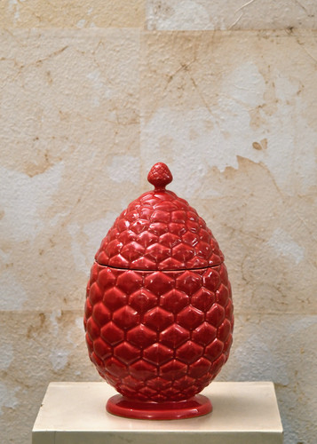 Misure h 26 Ø  43 Potiche pigna rossa  Ceramica - handmade
