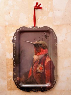 2 Misure 57 x 40    Vassoio  Ibride Uccello rosso     Metallo    100 Euro