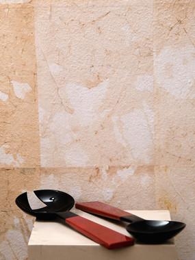 8 Misure  l 30    Posate per insalata laccate rosse e nere   Ceramica e legno