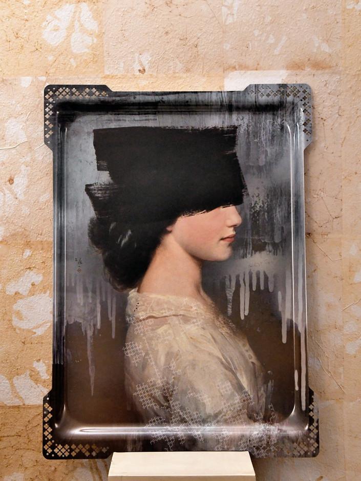 3 Misure 62 x 47    Vassoio Ibride Donna cappello nero          Metallo