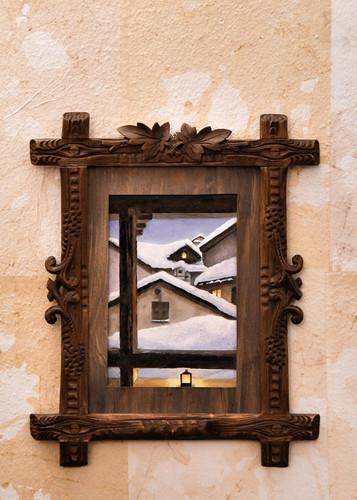 Misure h 23 x 23 Quadretto Natale Legno per cornice epoca, acrilico su tela