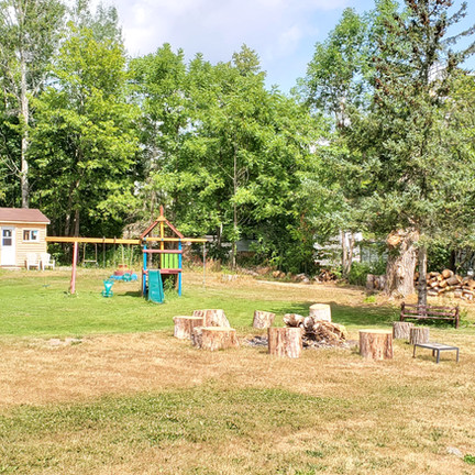 Kids play and fire pit in Park Area