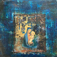 19 Madonna II –  mixed media and gold le