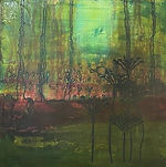 33 Green haze –  acrylics and ink on pan