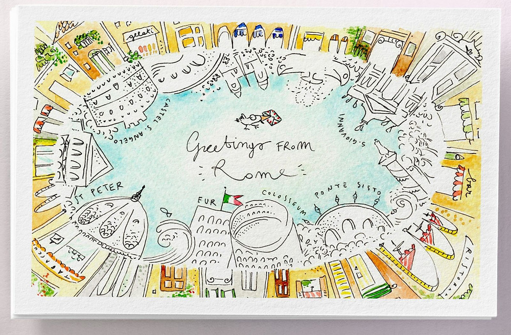 Rome Postcard, Martina Motzo, Postcard Illustration