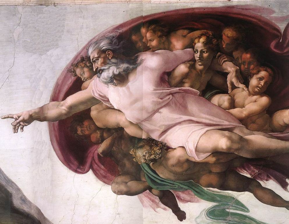 Detail from Michelangelo's The Creation of Adam showing God with Sophia, Divine Wisdom in The Sistine Chapel, Vatican Museums