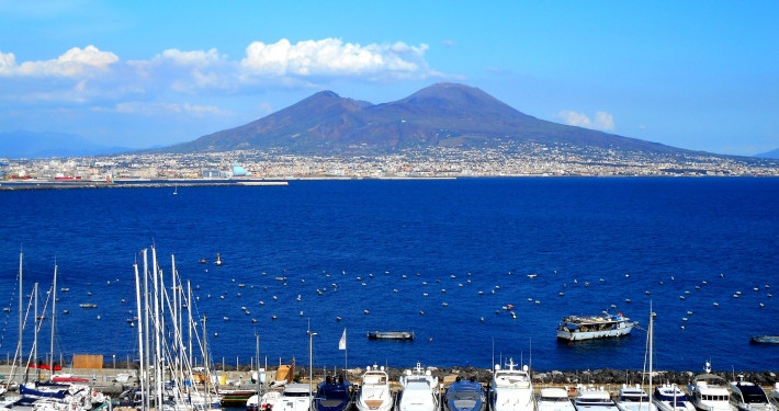 Tour of Mount Vesuvius with the Bay and sea in foreground