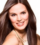 woman with long, straight brunette hair