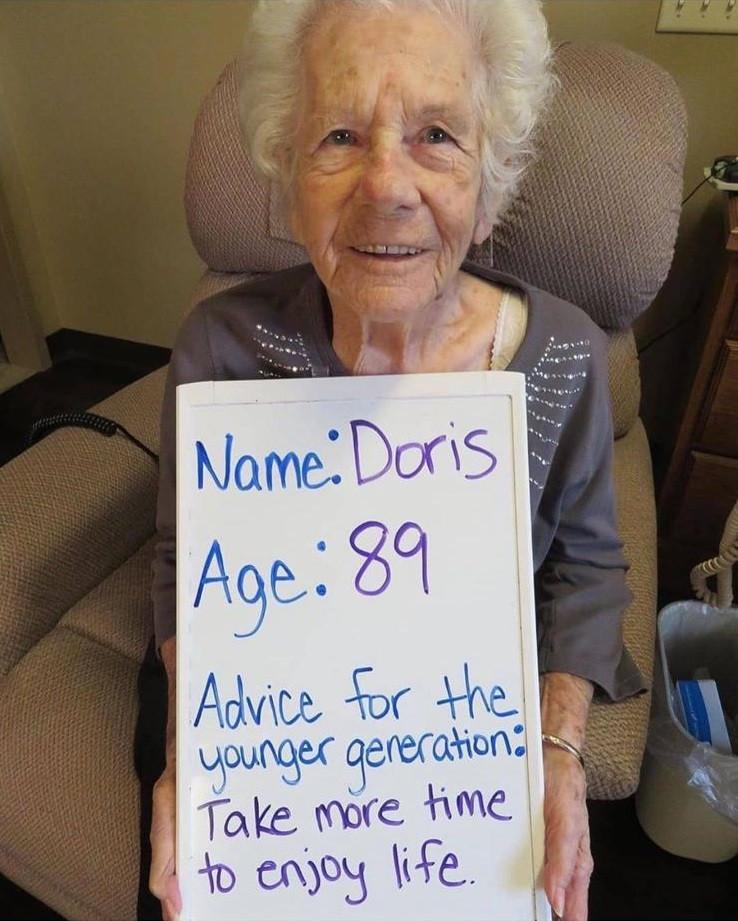 89歲的Doris給大家的建議是:「用多點時間去享受生活」