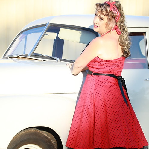 Red Halter Swing Dress small Black Polk-a-Dots