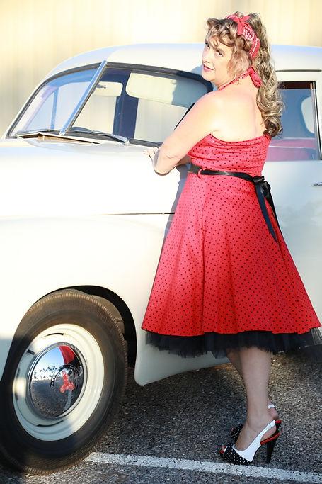 Red Black Small Dot Dress (Main).JPG