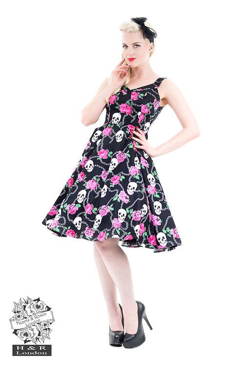 Psychobilly Skulls & Roses Flared Dress