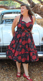 Black & Red Floral Retro Dress.  (Main).