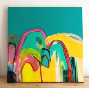 60 x 60 cm Acrylic and mixed media on box canvas.