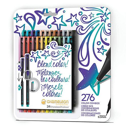 Chameleon Fineliner Çizim ve Yazı Kalemi 24'lü Set - Yoğun Koyu Renkler