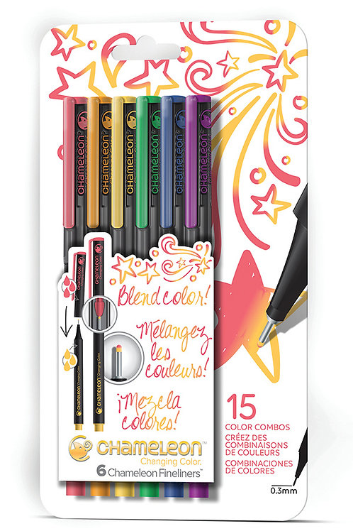 Chameleon Fineliner Çizim ve Yazı Kalemi 6'lI - Ana Renkleri Seti