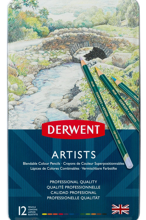 Derwent Artists 12'li Metal Kutu Seti