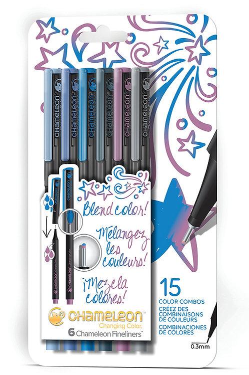 Chameleon Fineliner Çizim ve Yazı Kalemi 6'lI - Soğuk Renkleri Seti