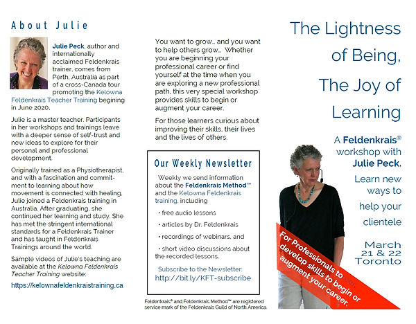 Feldenkrais Method neuro movements rewire brain to improve posture, reduce chronic joint pain, acute back pain, knee, hip replacement, improve balance, neurological disorders, improve posture. Feldenkrais classes improve mobility and reduce neck and shoulder pain.  Any age and ability can benefit. Feldenkrais Method helps chronic or acute pain and enhance movement abilities. Feldenkrais Toronto West somatic education classes in neuroplasticity, stroke, neuroscience improves recovery from injury pain in surgery, walk move better and fall prevention. Awareness Through Movement, Functional Integration help sports injury pain, prevent falls for seniors, swimming, dance, musician. Feldenkrais workshops and class series.  Advanced training for practitioners. Weekly drop in public classes Roncesvalles and Bloor West Village. Private small group Awareness Through Movement classes. Moshe Feldenkrais inventor discoverer of Feldenkrais method. Sue Seto Guild Certified Feldenkrais Practitioner.