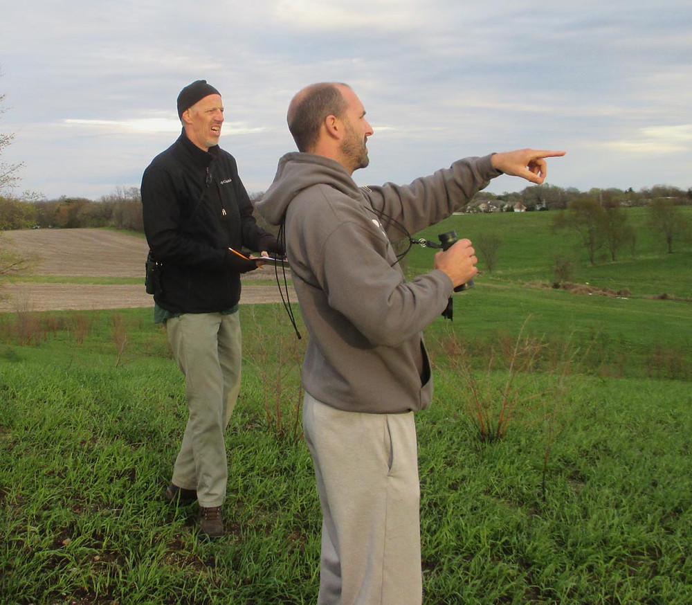 Quentin and Aaron doing good birding at the Sunny Peace Prairie