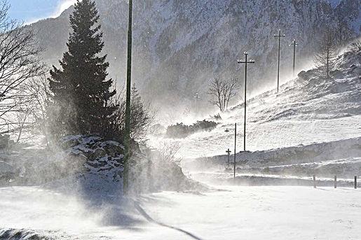 tempesta vento e neve a Chiappera