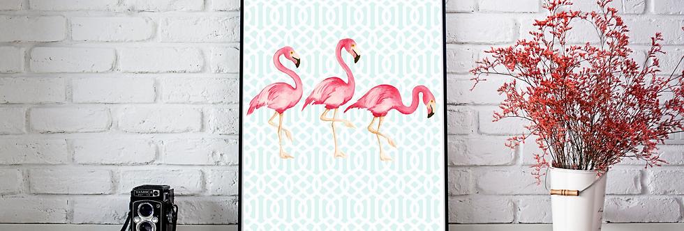 Quadro Flamingos Blue