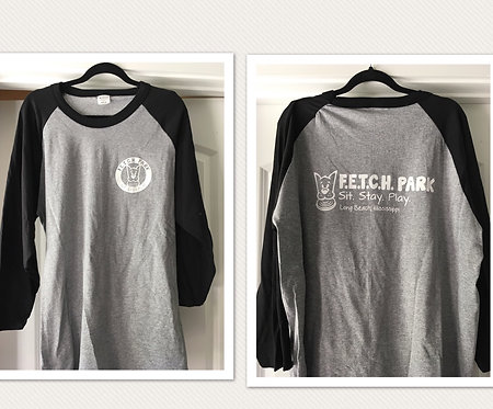 Gray, baseball style 3/4 black sleeve 100% cotton t-shirt