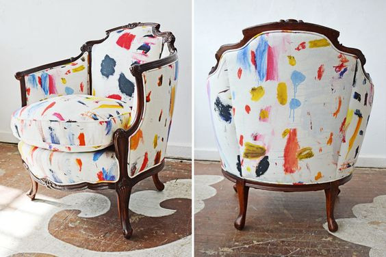 Upholstering antique furniture in a modern way