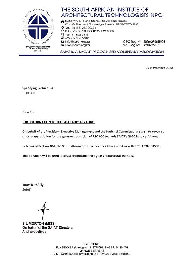 SAIAT - Section 18A Letter - Bursary Fun