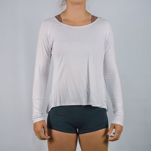Long Sleeve -Flow Warm Up/Yoga Long Sleeve - WHITE