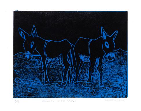 Donkeys in the Sahara Desert - blue