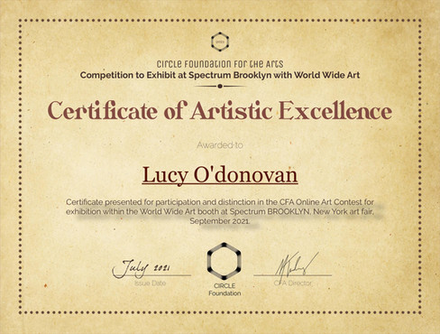CFA Brooklyn Contest 2021 - work Truth meant I was selected for an excellence award