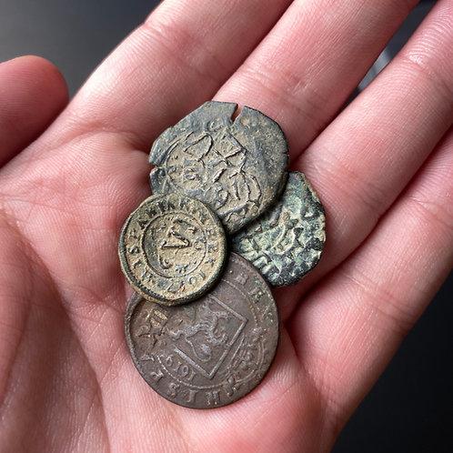 Copper Spanish Pirate Coin (1400-1700 AD)