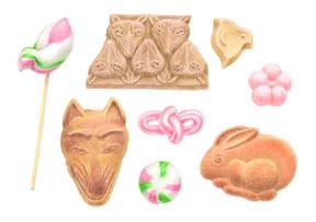 色えんぴつで塗る かわいい和菓子 / 淡交社 梅津菓子舗の鶴岡駄菓子