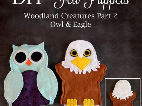 Owl & Eagle Woodland Creature Felt Puppets