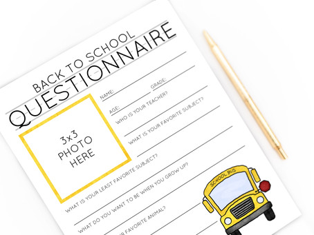 Free Back To School Questionnaire