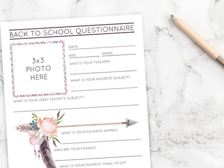 Boho Inspired Back To School Questionnaire