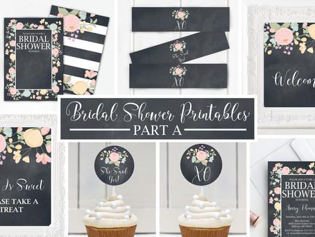 Floral Chalkboard Bridal Shower Printables Part A