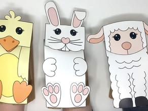 Bunny, Lamb & Chick Paper Bag Puppets