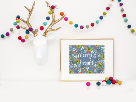 Merry & Bright FREE Printable Art Print