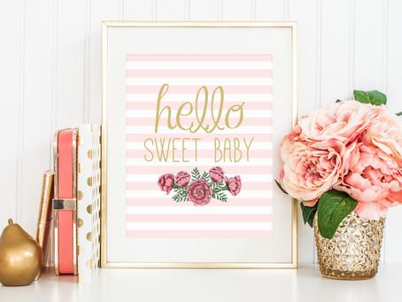 Hello Sweet Baby Free Nursery Art Print