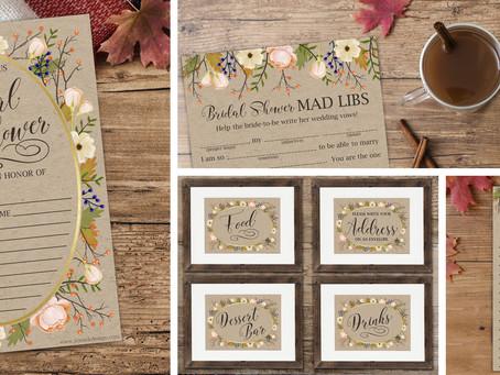 Free Fall Bridal Shower Printable Invite, Games & Decor
