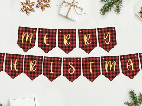 Red Plaid Merry Christmas Banner