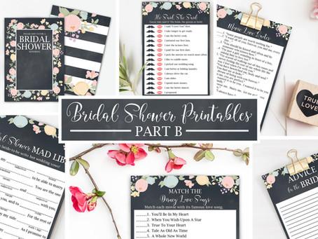 Floral Chalkboard Bridal Shower Printables Part B