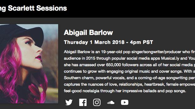 Abigail Barlow : Focusrite Scarlett Session