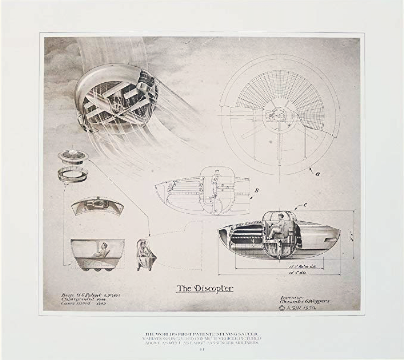 The Discopter Patent World\u0027s First Patented Flying Saucer by Alexander  Weygers