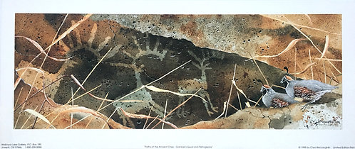Paths Of The Ancient Ones-Gambel's Quail and Petroglyphs by Carol McLaughlin